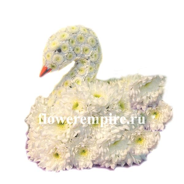 """Игрушка из живых цветов """"Лебедь из хризантем"""""""